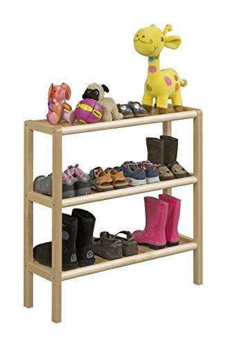 Abingdon Solid Birch Wood 3-Shelf Console/Shoe - Rack Shoe Birch