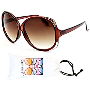 Wm3019-vp Style Vault Oversized Sunglasses (B1854F Crystal Brown/Silver-brown, clear)