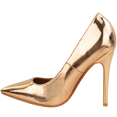 Fashion Thirsty New Womens Ladies Stiletto Pointed Toe High Heel Sandals Party Pumps Courts Size Rose Gold Metallic 0M8Uf