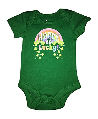 St. Patricks Day Baby Girls Onsies 0-3 (Happy Go Lucky) -
