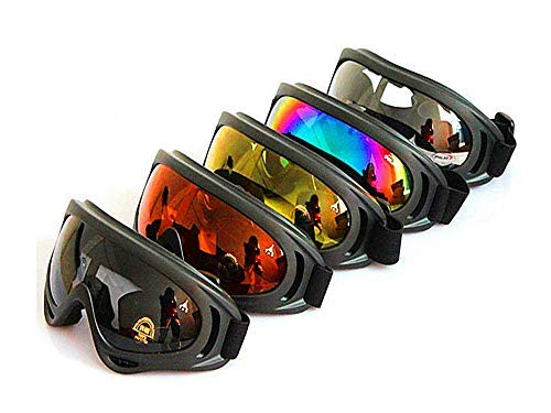 Dplus Motorcycle Goggles - Glasses Set of 5 - Dirt Bike ATV Motocross Anti-UV 400 Adjustable Riding Offroad Protective Combat Tactical Military Goggles for Men Women Kids Youth Adult X400
