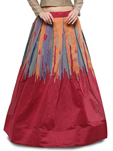 Indian Handicrfats Export Inddus Pink & Orange Printed Maxi Skirt