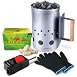HOMENOTE Rapid Charcoal Chimney Starter Set Fireplace Accessories Lighter Cubes BBQ Heat Resistant Gloves Blower BBQ Tools for Weber Charcoal Grills