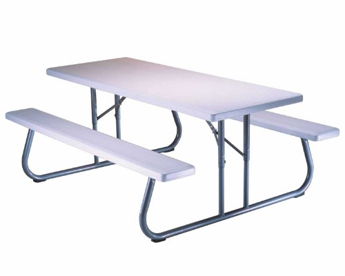 Lifetime 80215 Folding Picnic Table, 6 Feet, White Granite