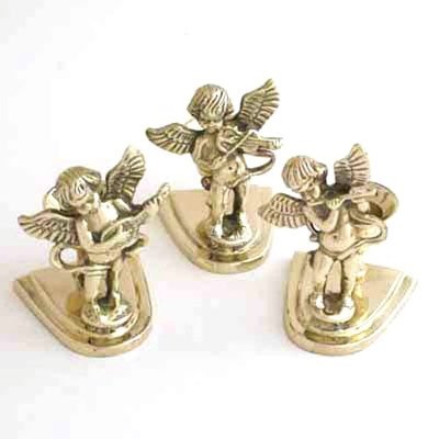 Brass Angel Candle Holders. Each Playing an Instrument. - Set of (Brass Angel Candle Holder)