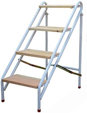 LAL6 Escalera Plegable para El Hogar Escalera De Madera Maciza Alta Taburete Soporte De Flores Taburete Multifunción,White,4 Step Ladder