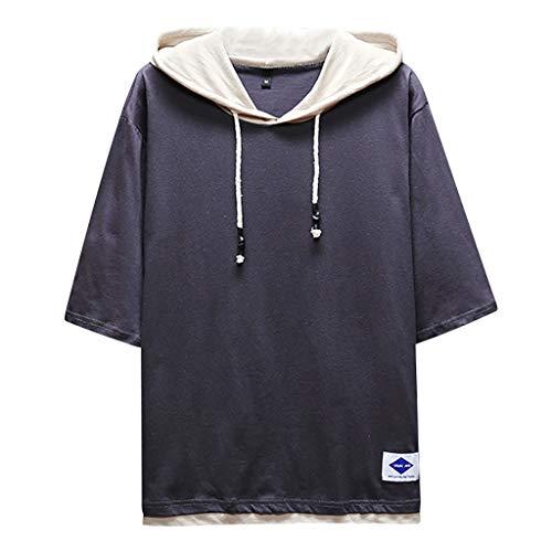 MIS1950s Men's Summer Casual Fashion Patchwork O-Neck Half Sleeve Hoodie T-Shirt Top Blouse (Mj Soffe Yoga Capri)