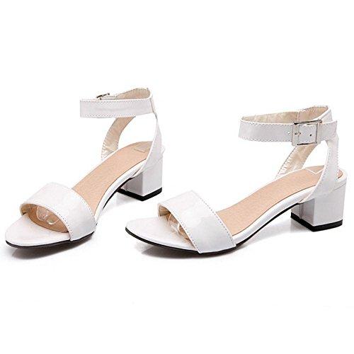 Block TAOFFEN Women's White Heel Sandals Shoes 5 qxF5w6CTx