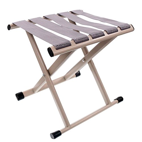 Coideal Mini Portable Outdoor Folding Chair Stool Metal Folded Seat for Camping,Fishing,Garden,Beach and Traveling,540lb (Cream)