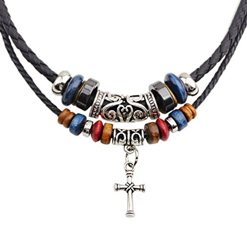 Winter's Secret Religious Totem Double Row Wood Beaded Handmade Woven Cross Pendant Necklace