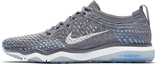 NIKE Womens W Air Zoom Fearless Flyknit (12 B(M) US, Cool Grey/White-polarized Blue)