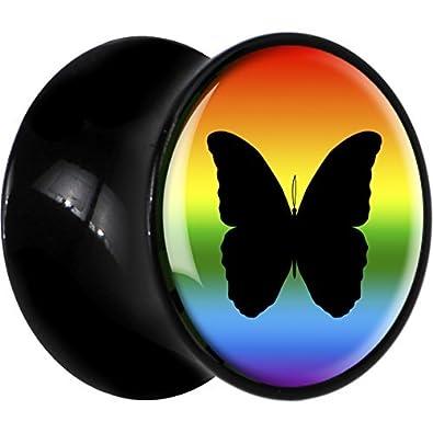 Negro Acrílico Mariposa Arco Iris Dilatador Par 18mm: Amazon ...