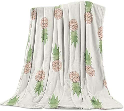 Ultra Soft Flannel Fleece Throw Blanket Cute Watercolor Pineapple Fruit Pattern 49x79inch All Season Light Weight Living Room/Bedroom Warm Blanket