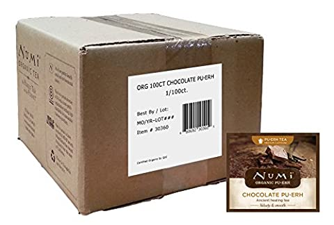 Numi Organic Chocolate Pu-erh Tea , 100 Count Full Leaf, non-GMO, Bulk Tea Bags - Numi Black Organic Tea