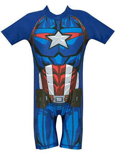 Boys Sunsuit - Marvel Avengers Boys' Captain America Swimsuit 3T