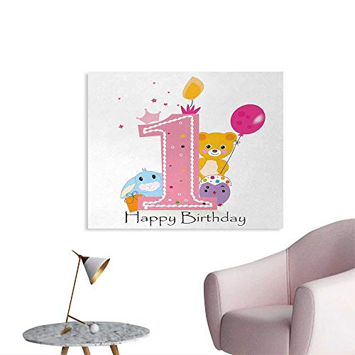 homehot 1st Birthday Poster Paper Princess Girl and Party Cake with Candle Teddy Bear Toy Print Painting Post Pale Pink and Hot Pink W28 -