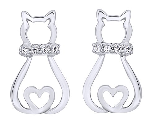 Round Cut White Diamond Accent Sitting Kitty Cat Heart Stud Earrings In 14K White Gold Over Sterling Silver