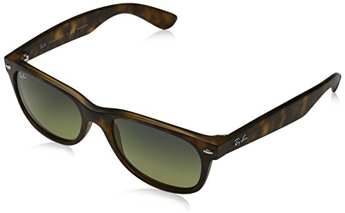 Ray-Ban RB2132 New Wayfarer Polarized Sunglasses, Matte Tortoise/Polarized Green Gradient, 55 ()