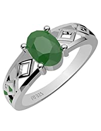 0.90ctw,Genuine Emerald 5x7mm Oval & Solid .925 Sterling Silver Rings
