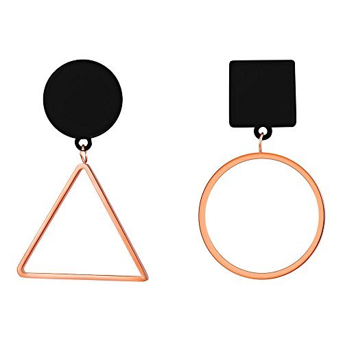 Mismatched Circle Triangle Geometric Women Drop Earrings Rose Gold Plated Stainless Steel Fashion Earring