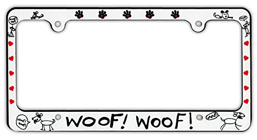 Plastic License Plate Frame Tag Holder - Woof! Woof! - Dogs, Hearts, Paw Prints