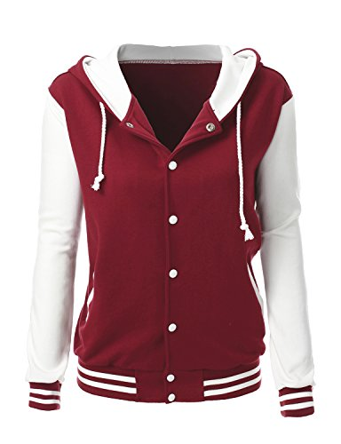 (Stylish Color Contrast Long Sleeves Hoodie Varsity Jacket Burngundy Ivory XL )