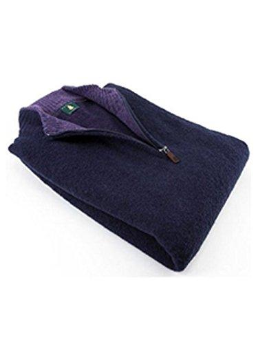 - Robert Talbott Navy Boucle 14 Zip Mock Wool Sweater XXL