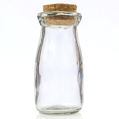 Perfectly plain collection Vintage Glass milk bottle with round cork top - Milk Bottle Top Collection