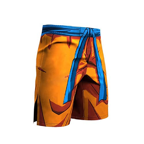 Men's Compression Shorts Cotton Half Pants Sports Running & Stretch Yoga Tights Leggings - Anime Dragon Ball DBG Style - (L, Orenge) ()