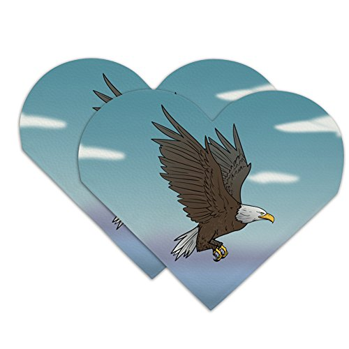 Bald Eagle Flying Heart Faux Leather Bookmark - Set of 2