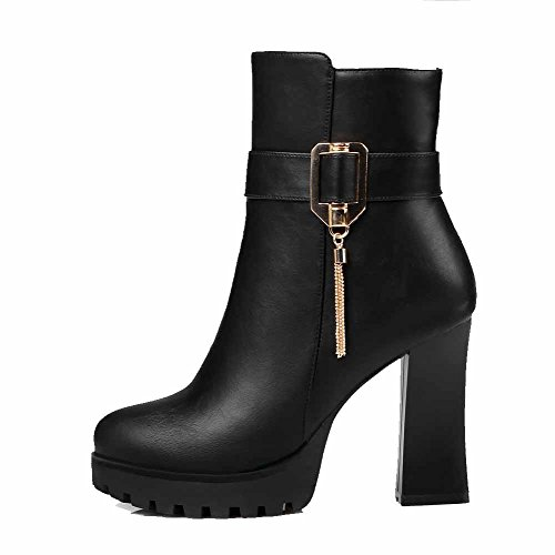 Top Toe Solid Closed Women's High Charms Boots Heels with Low Black AgooLar Zipper Round x0ZEqqw