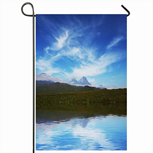 Ahawoso Garden Flag 12x18 Inches Overview Altitude Mountain Lake On Kamchatka Nature Adventure Peak Parks Backpacked Backpacking Climb Decorative Seasonal Double Sided Home House Outdoor Yard Sign (Backpacked)