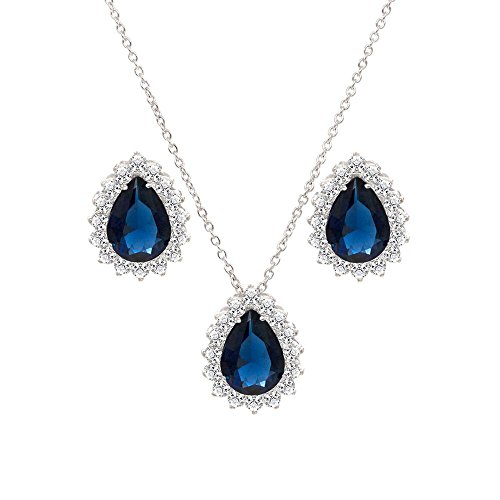 Lavencious Teardrop Shaped Sapphire Jewelry Set Necklace & Earrings Trendy AAA Cubic Zirconia for Women Wedding Party ()
