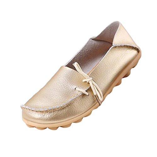 top Freizeit Damen Flache Low Mokassin Erbsenschuhe Schuhe Loafers Heheja Gold vAqUp