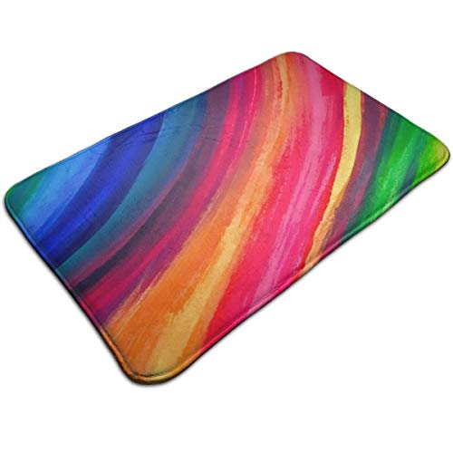 (Pomduct Iridescent Colorful Lines Stripes Texture Wallpaper Personalized Floor Mats Entrance Mat Non-Slip Bottom for Home Office Decoration)