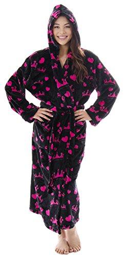 Spa 1 Robe Hook - Livingston Soft Warm Winter Luxurious Flannel Long Sleeve Bath Robe w/Pockets, Pink Crowns