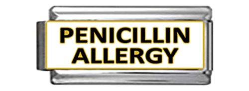 PENICILLIN ALLERGY MEDICAL ALERT ID Italian Charm 9mm x1 ME255 Single - Italian Charm Traditional