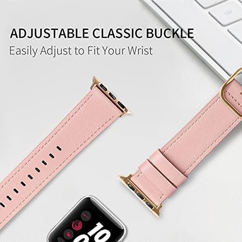 IFECCO Leather Bands Compatible with Apple Watch Band 38mm 40mm 42mm 44mm, Vintage Genuine Leather Adjustable Replacement Strap Women Men for iWatch SE & Series 6 5 4 3 2 1(Pink/Gold, 42/44mm)