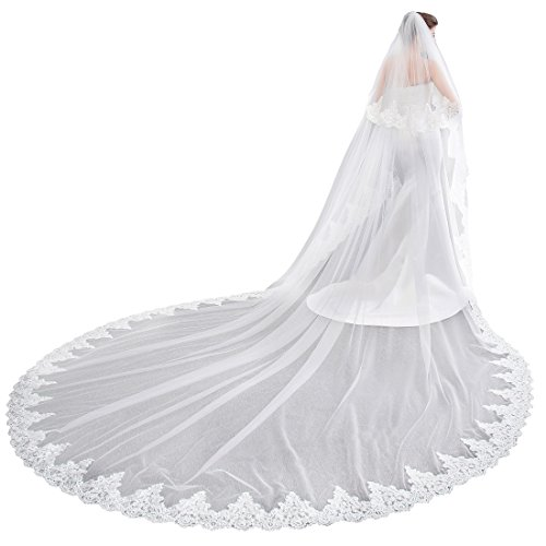 (EllieHouse Women's 2 Tier Cathedral Lace White Wedding Bridal Veil With Comb L01WT)