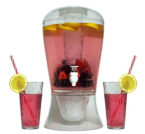 Large 2 Gallon Beverage Dispenser on Stand with Spout – Ice Base and Core Keep Juice and Drinks Cold – Shatterproof Acrylic Jug with Fruit and Tea Infuser and Spigot Perfect for (Tabletop Double Pedestal Base)