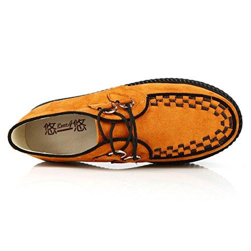 Gote Schuhe Schnürschuhe Creepers Punk Flache Damen RoseG Plateauschuhe Orange xWTncIaWq
