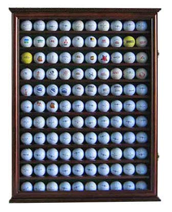110 Golf Ball Display Case Wall Cabinet Holder Shadow Box, Solid Wood (Walnut Finish)