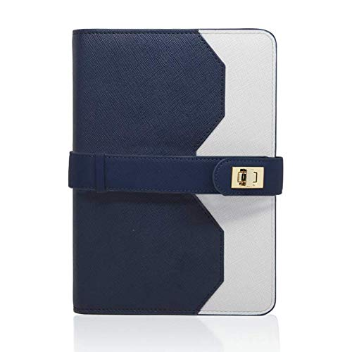 - Aura Estelle Lock-It Notebook Journal Diary Notepad A5 Refillable Ruled Leather