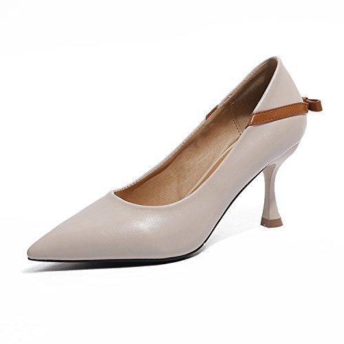 sottile di Bow moda Wild bianco della il unico bocca punto e confortevole scarpe 39 poco Tie profonda RCxqIT7