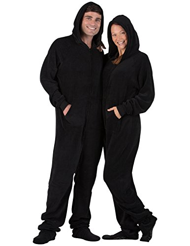 Footed Pajamas Family Matching Raven Black Adult Hoodie Chenille Onesie - Small -