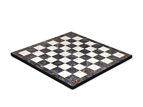 Wooden Flat Chess Board Grey Marble- 14″