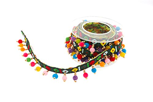 - Marsha Q Multicolored Beaded Trim Boho Trim Ball Fringe Embroidered Ribbon 2 Yard (Black)