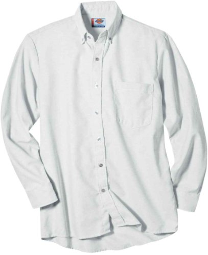 (Dickies Occupational Workwear SS36WH 185LN Polyester/ Cotton Men's Button-Down Long Sleeve Oxford Shirt, 18-1/ 2