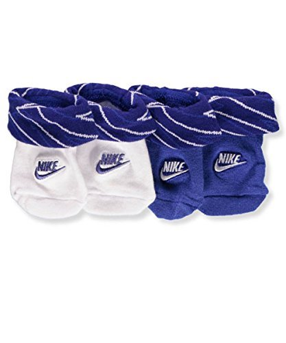 Nike Booties - Nike Infant Baby Futura Booties (2 Pair) (Maze Mash Up (LN0037-U1A) / Deep Royal Blue, 0-6 Months)