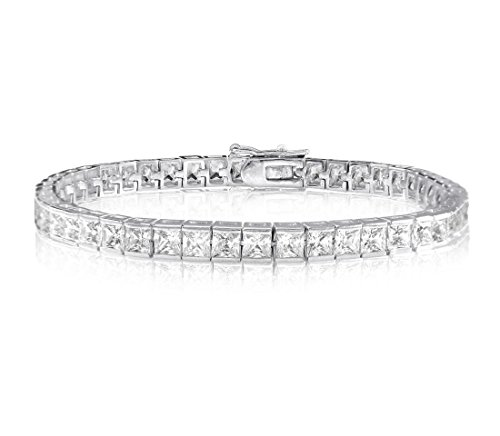 Brilliant Cut Princess Bracelet - 6 CARATS 3MM PRINCESS CUT SIMULATED DIAMOND TENNIS BRACELET 6.5, 7 OR 8 INCHES